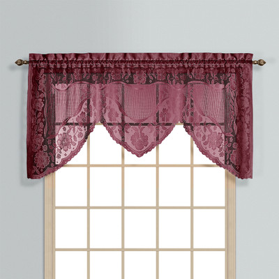 Windsor Lace Swagger Valance Burgundy Linens4less Com