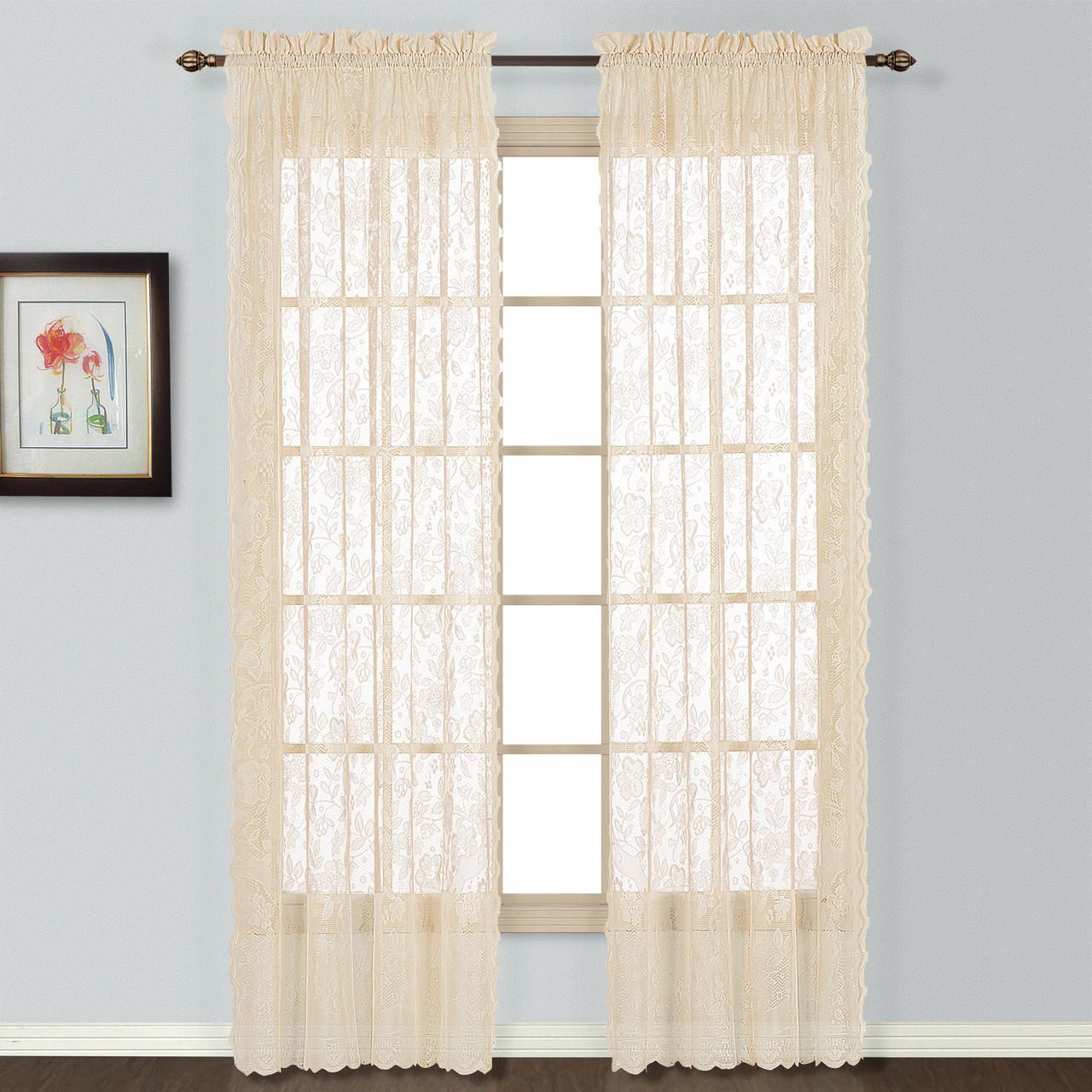 Windsor Lace Natural 2 Rod Pocket Curtain Panels