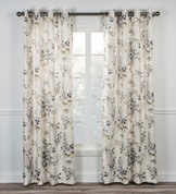 Chatsworth Floral Lined Grommet Top Curtain Panel - Blue from Ellis Curtain