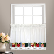 "Appleton Apples 24"" kitchen curtain tier from United Curtain"