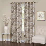 Tranquility Floral Lined Grommet Top Curtain Panel - Tan