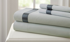 400 Thread Count Satin Band Sheet Set 100% cotton - Silver/Charcoal