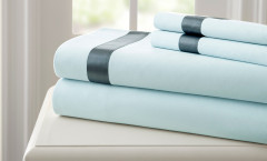 400 Thread Count Satin Band Sheet Set 100% cotton - Blue/Blue