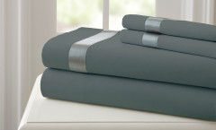 400 Thread Count Satin Band Sheet Set 100% cotton - Charcoal/Silver