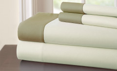 400 Thread Count Contrast Band Sheet Set 100% cotton - Ivory/Taupe