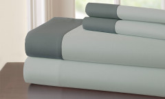 400 Thread Count Contrast Band Sheet Set 100% cotton - Silver/Charcoal
