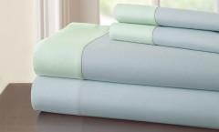 400 Thread Count Contrast Band Sheet Set 100% cotton - Blue/Jade