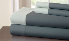 400 Thread Count Contrast Band Sheet Set 100% cotton - Charcoal/Silver