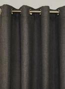 Faux Jute Grommet Top Curtain Panel - Charcoal