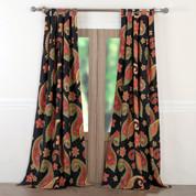 Midnight Paisley tab top curtain pair
