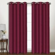Vintage Faux-Silk Blackout Grommet Top Curtain pair - Burgundy