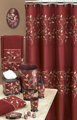 Aubury Shower Curtain Amp Bathroom Accessories Burgundy