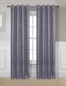Glitter Grommet Top Curtain Panel - Grey