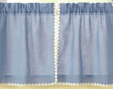 """Andrea 24"""" kitchen curtain tier - Colonial Blue"""