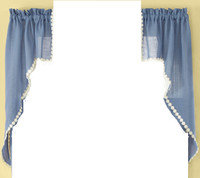 Andrea kitchen curtain swag - Colonial Blue