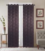 Diamond Grommet Top Curtain Panel - Chocolate