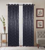 Diamond Grommet Top Curtain Panel - Black