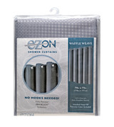 Waffle Weave Hookless Fabric Shower Curtain with Liner - Silver