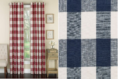 Courtyard Plaid Grommet Top Curtain - Navy