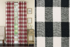 Courtyard Plaid Grommet Top Curtain - Blac
