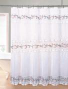 Rose Garden Organza Macrame Shower Curtain - White