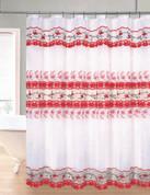 Rose Garden Organza Macrame Shower Curtain - Red
