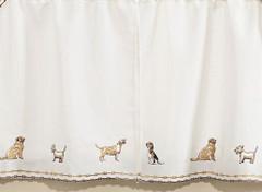 "Dogs 36"" kitchen curtain tier"