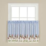 """Winter Wonderland Christmas 36"""" kitchen curtain tier"""