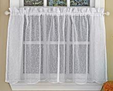 """Floral Spray 36"""" kitchen curtain tier - White"""