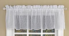 Floral Spray kitchen curtain valance - White