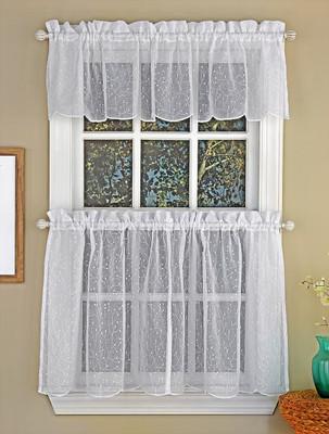 Floral Spray Sheer Kitchen Curtain - White
