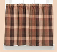 """Brighton Plaid 36"""" kitchen curtain tier - Brown from Saturday Knight at Linens4Less.com"""