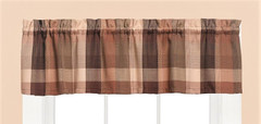 Brighton Plaid kitchen curtain valance - Brown from Saturday Knight at Linens4Less.com