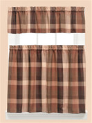 Brighton Plaid Kitchen Curtain - Brown from Saturday Knight at Linens4Less.com