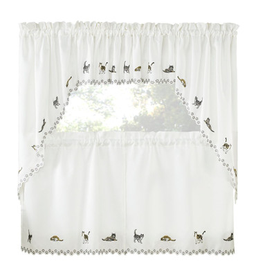 Cats Embroidered Kitchen Curtain