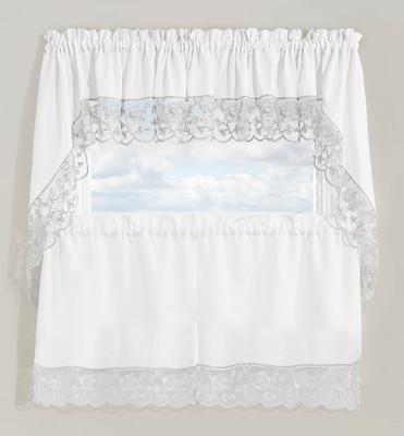 Maribel Embroidered Kitchen Curtain - Silver