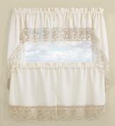Maribel Embroidered Kitchen Curtain - Gold