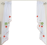 Strawberries kitchen curtain swag
