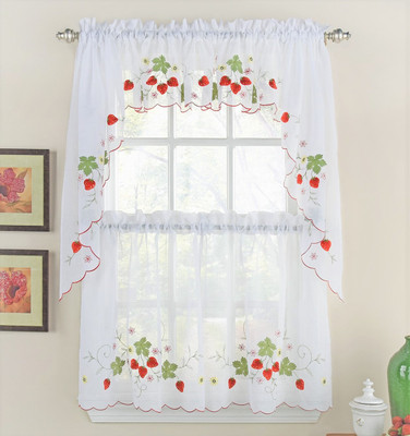 Strawberries Embroidered Kitchen Curtain from Lorraine Home Fashions