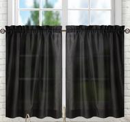 """Stacey 24"""" kitchen curtain tier - Black"""