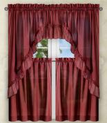 Stacey Solid Kitchen Curtain - Merlot