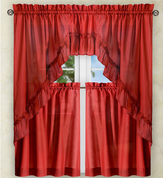 Stacey Solid Kitchen Curtain - Red