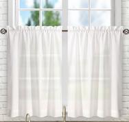 """Stacey 24"""" kitchen curtain tier - White"""