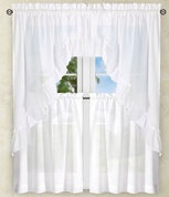 Stacey Solid Kitchen Curtain - White