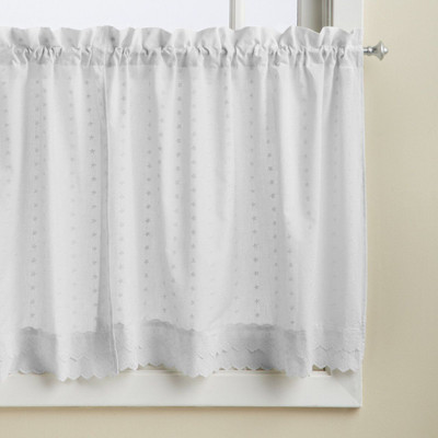 """Ribbon Eyelet 36"""" kitchen curtain tier - White from Lorraine Home"""