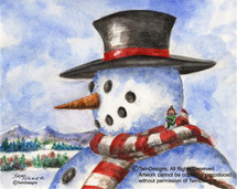 Snowman Top Hat Greeting Card
