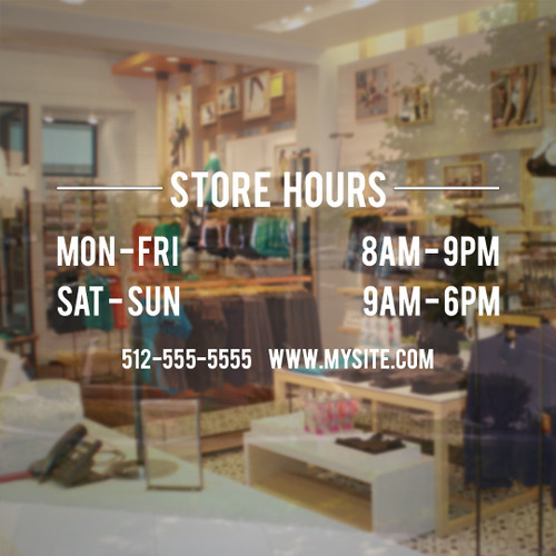 Store hours vinyl decal store sign