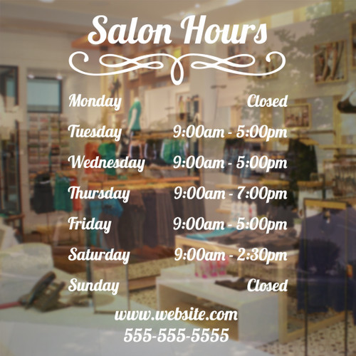Salon hours vinyl decal store sign