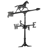 "Whitehall 30""  Horse Accent Weathervane - Black - Aluminum"