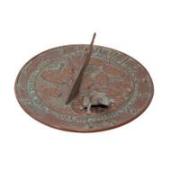 Whitehall Frog Sundial - Copper Verdigris - Aluminum